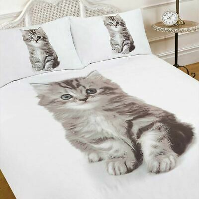 3D Kitten Cat Animal Print Quilt Duvet Cover With Pillow Case Bedding Set White • 14.99£