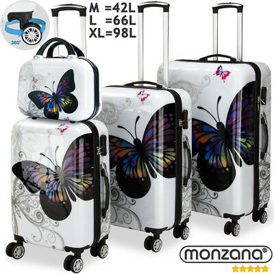 4 Pcs Butterfly Hardshell Suitcase Spinner Set + Lock & Vanity Case 360° Castors • 105.95£