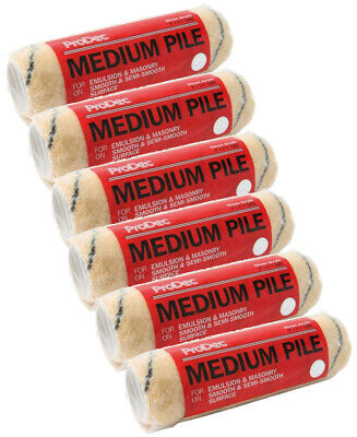 6 X ProDec 9  Inch Medium Pile Acrylic Paint Refills Roller Sleeves (PRRE003) • 13.95£