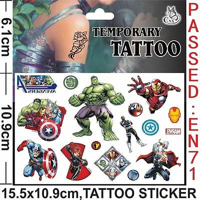 The Avengers Temporary Tattoo Sheet Children Kids Birthday Party Bag Filler • 2.98£