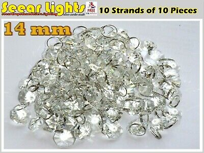 £16.99 • Buy 100 CHANDELIER LIGHT CRYSTALS DROPLETS GLASS BEADS DROPS 14mm LAMP PARTS 2m LONG