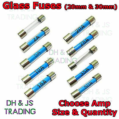 £2.45 • Buy Glass Fuses 20mm 30mm Radio Fast Acting Quick Blow Glass Fuse 1 To 50 AMP