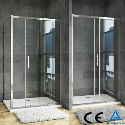 £110.47 • Buy Sliding Shower Enclosure Door Stone Tray AICA Glass Screen Walk In Cubicle Waste