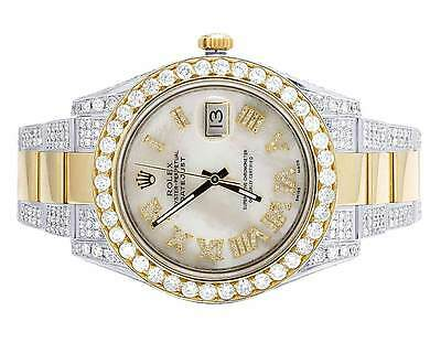 $ CDN26667.97 • Buy Mens Rolex Datejust II 41MM 116333 18K Two Tone White MOP Diamond Watch 15.75 Ct