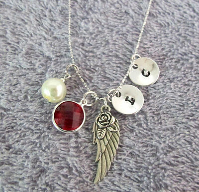Wing Memorial Remembrance Necklace Silver Pewter Angel Wing Charm Necklace • 11.71£