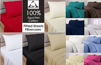 Hotel Quality100% Egyptian Cotton 200TC Fitted Sheet Single 4ft Small Doubl King • 3.99£