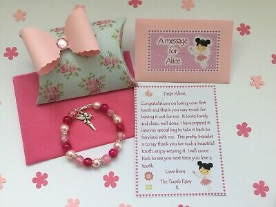 Personalised Tooth Fairy Letter Bracelet Gift Box  First Tooth  Tooth Fairy • 4.50£