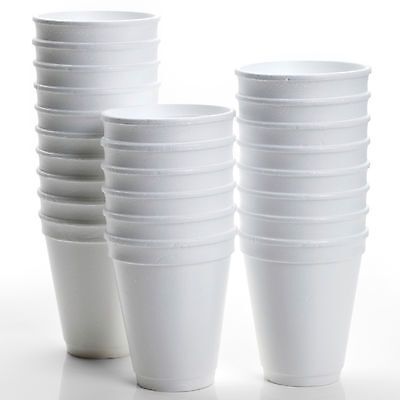 Disposable Foam Cups Polystyrene Coffee Tea Cups For Hot Drinks 6oz 10oz 20-1000 • 16.40£