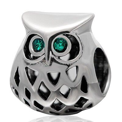 Owl Charm Bead 925 Sterling Silver • 8.95£