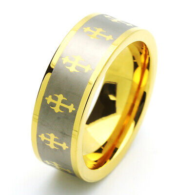 $34.99 • Buy Men 8MM Comfort Fit Tungsten Carbide Wedding Band Gold Tone Celtic Cross Ring