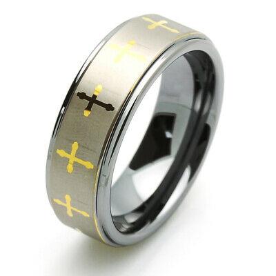 $24.99 • Buy Men 8MM Comfort Fit Tungsten Carbide Wedding Band Gold Tone Celtic Cross Ring