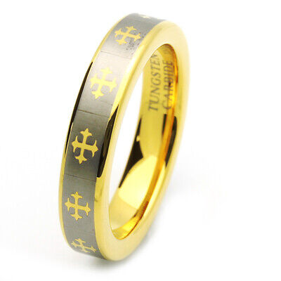 $24.99 • Buy Men 5MM Comfort Fit Tungsten Carbide Wedding Band Gold Tone Celtic Cross Ring