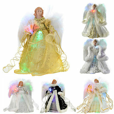 Fibre Optic Angel Decoration Christmas Tree Top Topper  Feather Wings • 19.99£