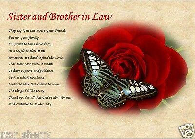 £3.59 • Buy SISTER & BROTHER IN LAW Personalised Poem (Laminated Gift)