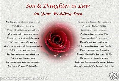 SON & DAUGHTER IN LAW GIFT- Wedding Day (Poem Gift) • 3.85£