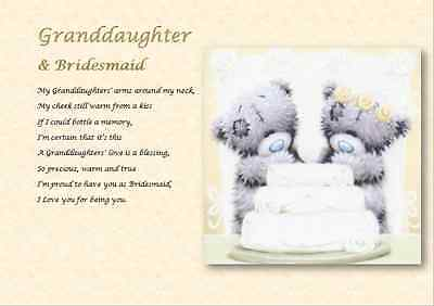 GRANDDAUGHTER & BRIDESMAID - Personalised Laminated Gift • 3.23£