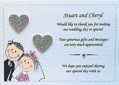 £4.20 • Buy 10 Personalised Wedding Thank You Cards - Glitter Hearts And Free Envelopes