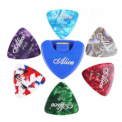 $ CDN7.07 • Buy Guitar Picks Holder & 6Pcs Triangle Guitar Picks Celluloid Plectrums 3 Gauges