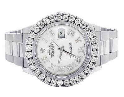 $ CDN16984.10 • Buy Mens Rolex Datejust II 41MM 116300 S.Steel White Roman Dial Diamond Watch 7.5 Ct