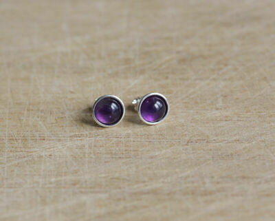 925 Sterling Silver Stud Earrings With 6 Mm Natural Amethyst  • 6.70£