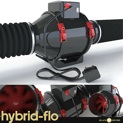 Black Orchid Hybrid Flo Hydroponic Grow Room Tent Extractor Fan 4  5  6  8  • 39.79£
