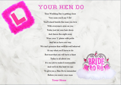 HEN PARTY / BRIDE TO BE GIFT .......Keepsake Gift...A4 Poem - WRITTEN BY SELLER • 3.59£