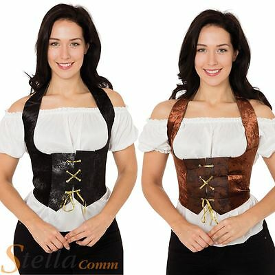 Ladies Velvet Corset Fancy Dress Costume Medieval Pirate Gothic Wench Outfit • 6.95£