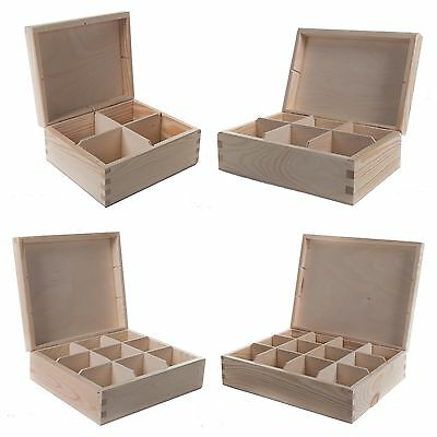 4/6/8/9/12 Compartments Wood Jewellery Storage Chest Boxes / Wooden Tea Bag Box  • 12.95£