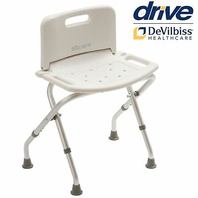 Folding Aluminium Bath And Shower Seat Stool Chair With Back Adjustable Height • 28.99£
