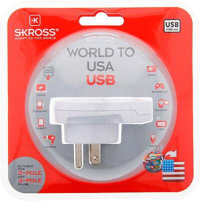 AU34.99 • Buy Original SKROSS® Brand Travel Adapter With USB - Country Adapter World To USA
