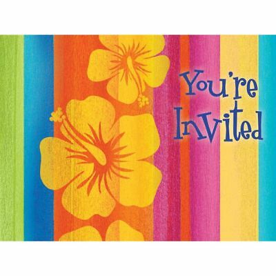 Hawaiian Luau Party Sunset Stripes Post Card Invitations 8 Pack • 2.33£