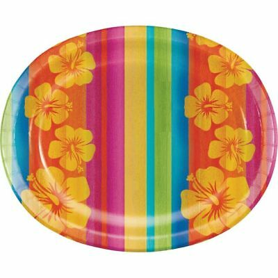 Hawaiian Luau Party Sunset Stripes 12 Inch Oval Paper Plates 8 Pack • 4.24£