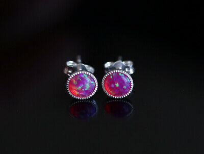 £8.99 • Buy 925 Sterling Stud Earrings With 5 Mm Bright Pink Opal Stones