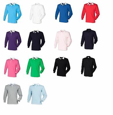 £5.99 • Buy New Gents Long Sleeve Plain Front Row Rugby Shirt Top 14 Colours Small - 3XL