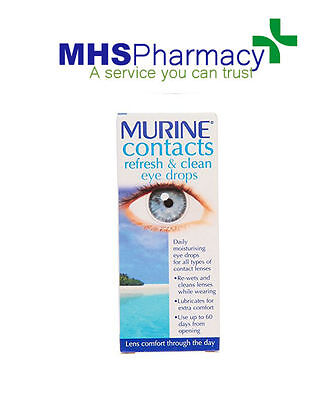 £5.49 • Buy Murine Contacts Refresh (Wet) & Clean Eye Drops 15ml All Types Of Contact Lens