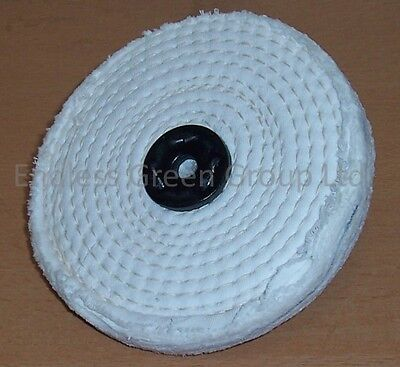 6  Stitched White Cotton Buffing Wheel 150mm X 13mm  Firm Polishing Mop  C150/1  • 6.10£