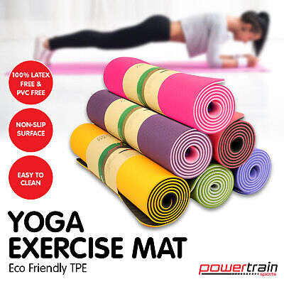 AU49 • Buy TPE Yoga Exercise Mat Eco Friendly Home Gym Pilates Floor Fitness 8mm Thick