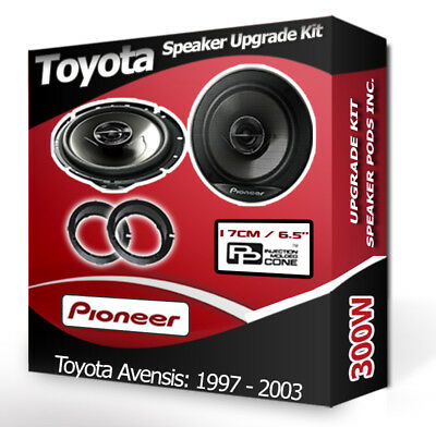Toyota Avensis Front Door Speakers Pioneer Car Speakers + Adaptor Pods 300W • 44.99£
