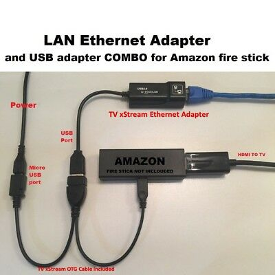 AU17.02 • Buy Amazon Fire Stick ETHERNET ADAPTER & USB OTG Cable REDUCE BUFFERING - TV XStream