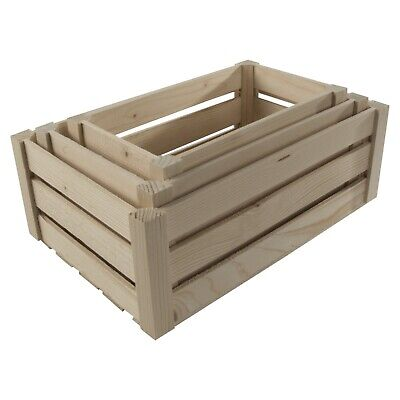 £9.95 • Buy Plain Wooden Slatted Fruit Crates Containers In 3 Sizes/Apple Storage Crate Box