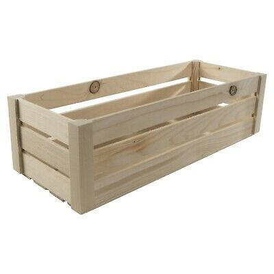 Plain Wooden Slatted Fruit 40cm Long Crates Containers/ Apple Storage Crate Box • 11.95£