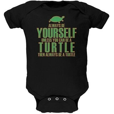 £12 • Buy Always Be Yourself Turtle Black Soft Baby One Piece