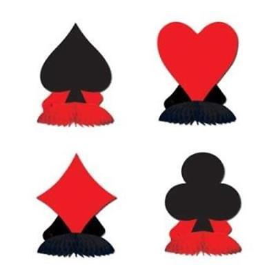 $3.89 • Buy Card Suit Mini Centerpiece Set 4 Pack Casino Vegas Gambling Party Decoration