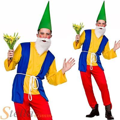 Mens Funny Garden Gnome Costume Dwarf Fairy Tale Fancy Dress Adult Outfit • 15.95£