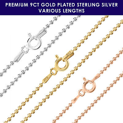 9ct Gold Plated On 925 Sterling Silver BALL BEAD 1.5mm Chain Necklace • 16£