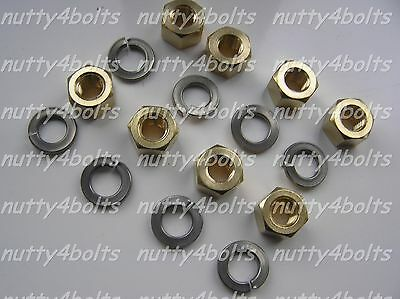 M8 X 1.25mm  Exhaust Manifold Brass Nuts+stainless Washers • 5.54£