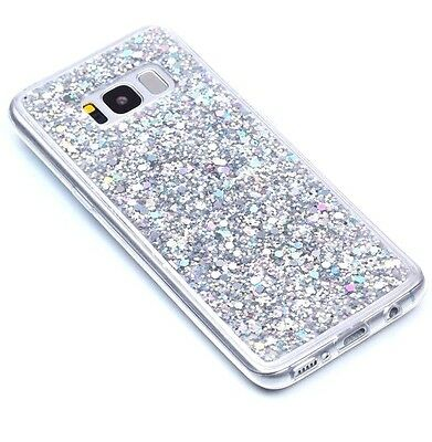 $ CDN9.98 • Buy For Samsung Galaxy S8+ Plus - TPU RUBBER GUMMY CASE COVER SILVER GLITTER SEQUINS