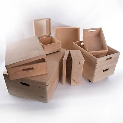 Large Wooden Storage Boxes / Plain Wood / Box With Lid / Crate Trunk Containers  • 13.95£