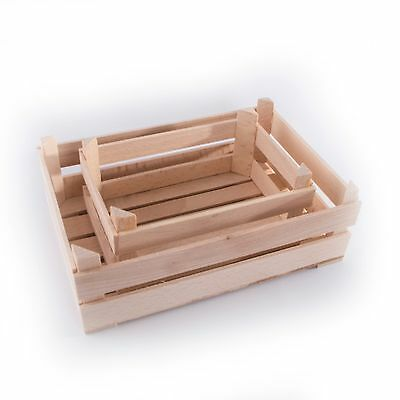 Mini Small Plain Wooden Fruit Crates Containers In 2 Sizes/ Tiny Storage Box  • 6.95£