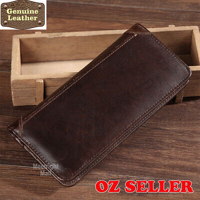 AU14.95 • Buy Premium Genuine Leather Mens Long Purse Bifold Brown Business Credit Card Wallet